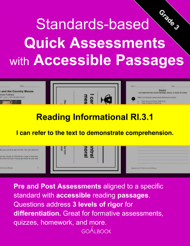 Reading Quick Assessment with Accessible Passages: RI.3.1