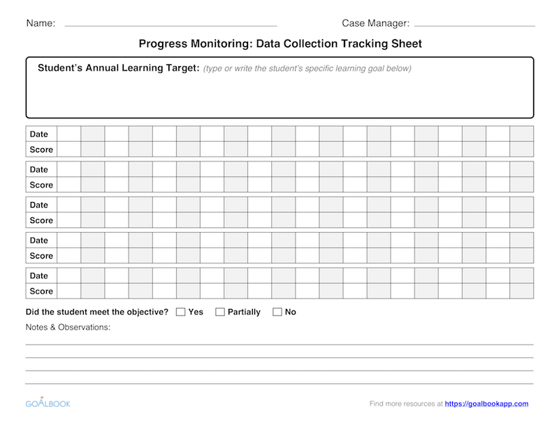 image regarding Progress Monitoring Charts Printable titled Advancements Checking UDL Ideas - Goalbook Toolkit