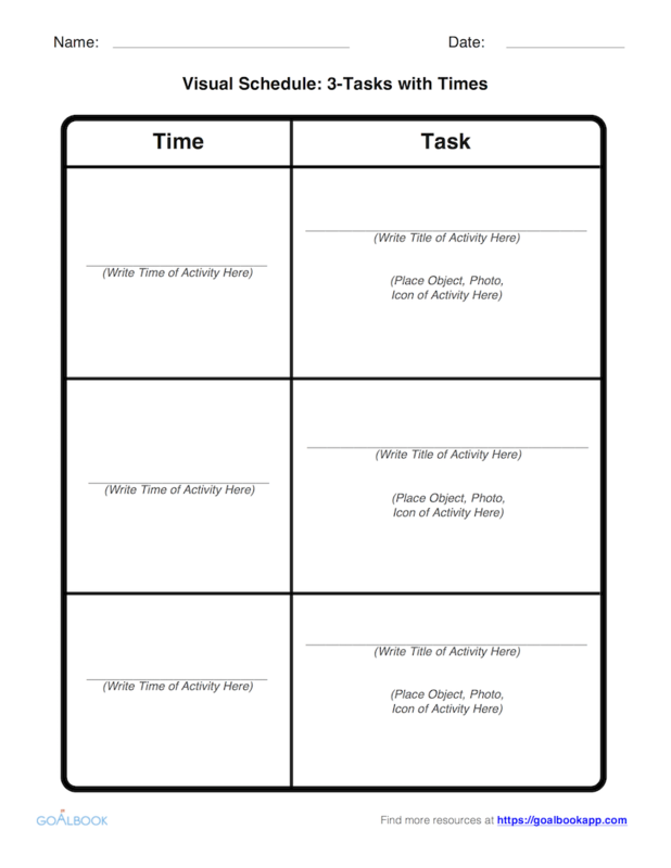Visual Schedule Template: 3-Tasks with Times