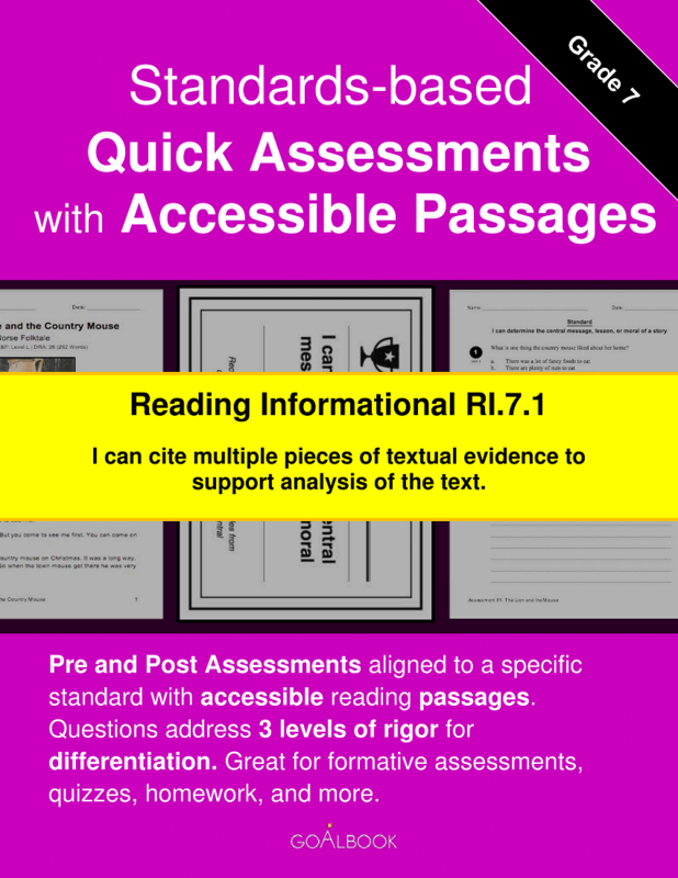 Reading Quick Assessment with Accessible Passages: RI.7.1