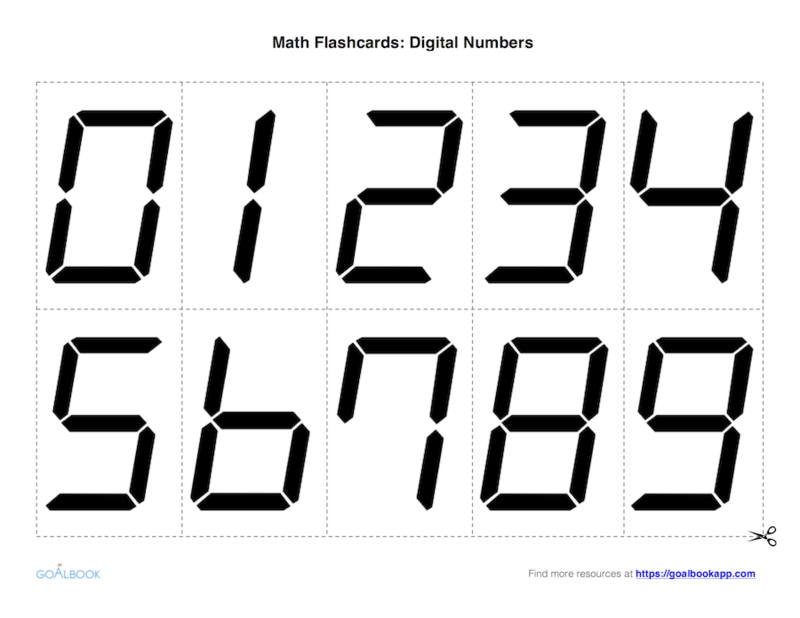 Math Flashcards: Digital Numbers