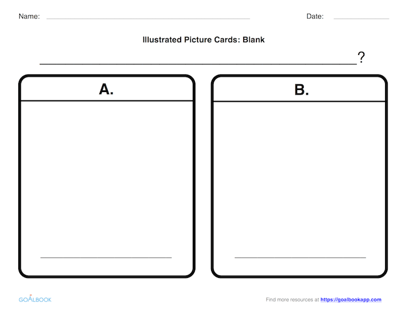 Illustrated Multiple Choice Cards: Two Choices