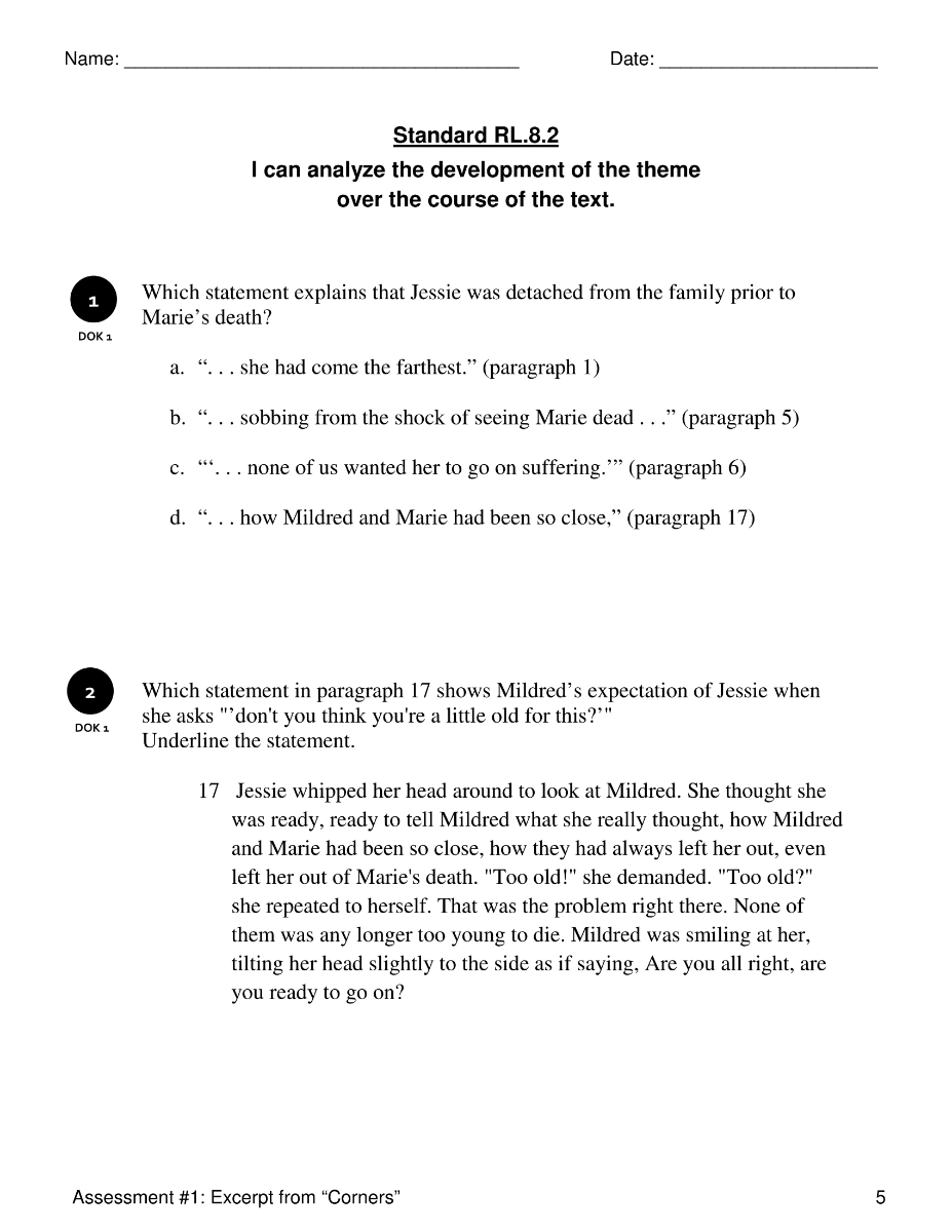 Workbooks plot and theme worksheets : RL.8.2 Analyze Development of Theme | Reading: Literature | 8th ...
