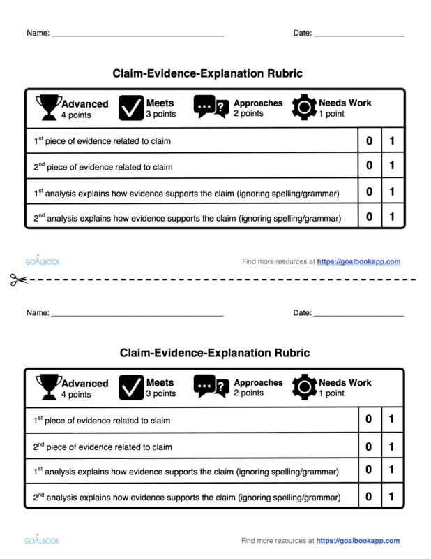 Claim-Evidence-Explanation Rubric: 4 Points