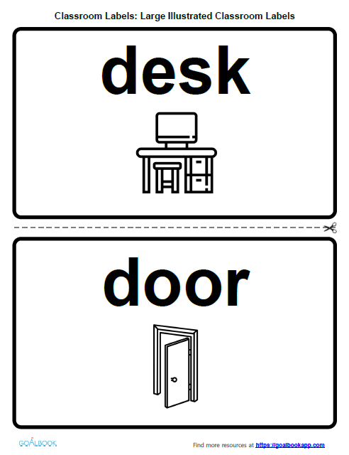 Large Illustrated Classroom Labels