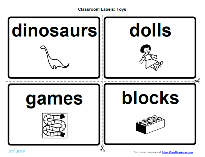 Classroom Labels for Play-Related Print