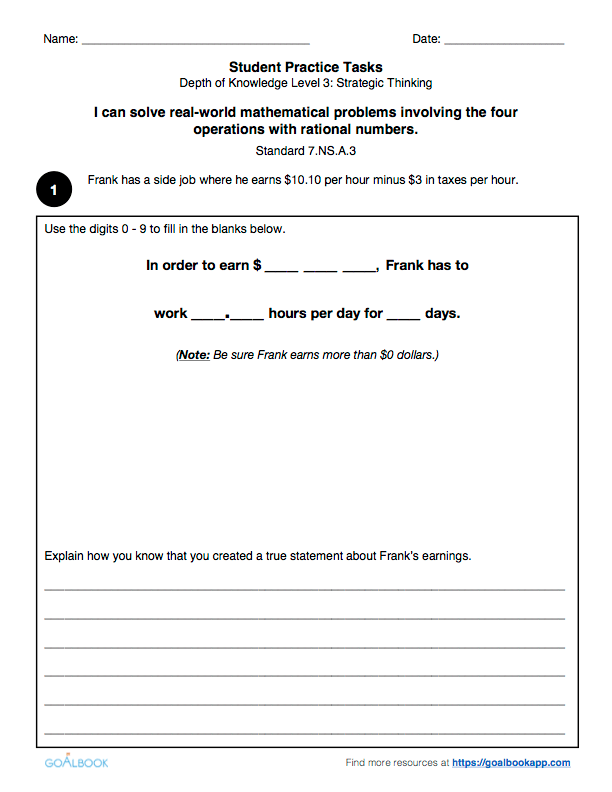Operations with Rational Numbers Grade 7 – Ordering Rational Numbers Worksheet