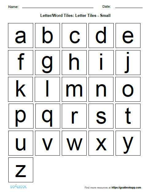 image about Letter Tiles Printable known as Letter/Term Tiles UDL Programs - Goalbook Toolkit