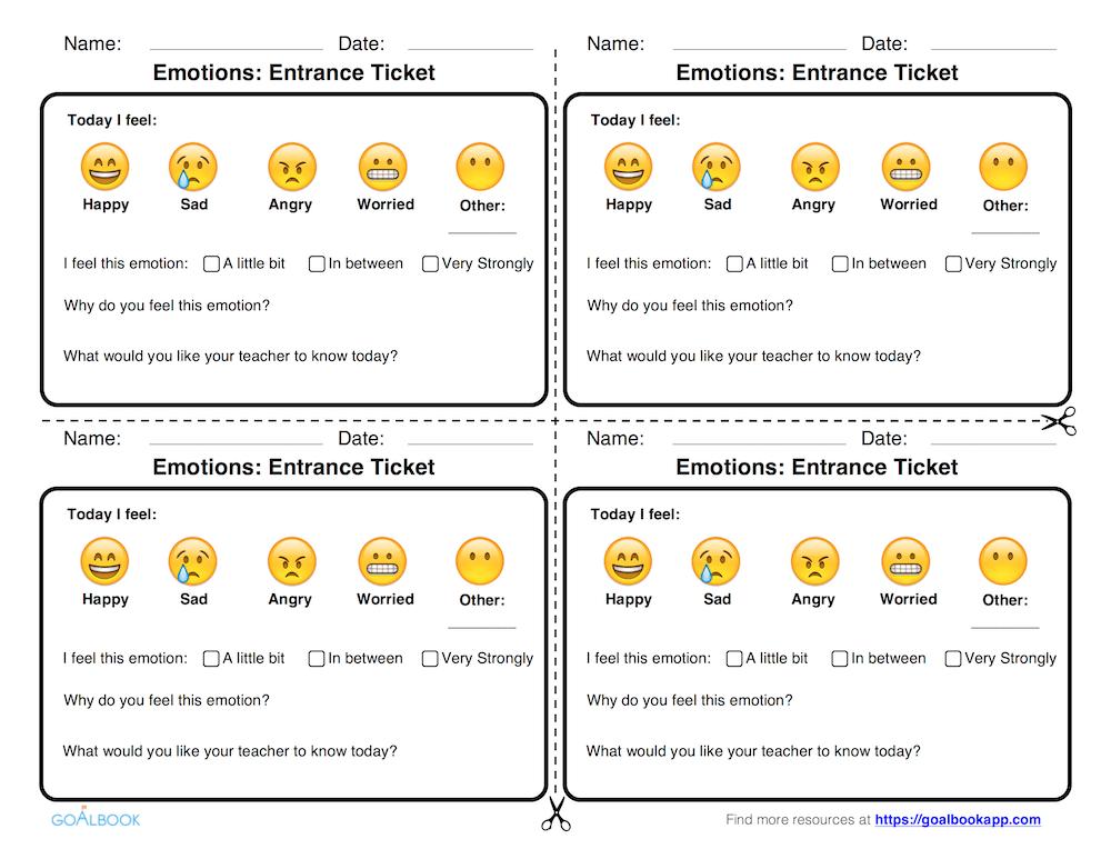 Emotions Entrance Ticket (K-5)