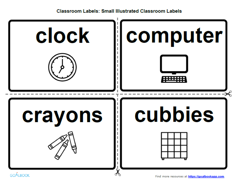 Small Illustrated Classroom Labels