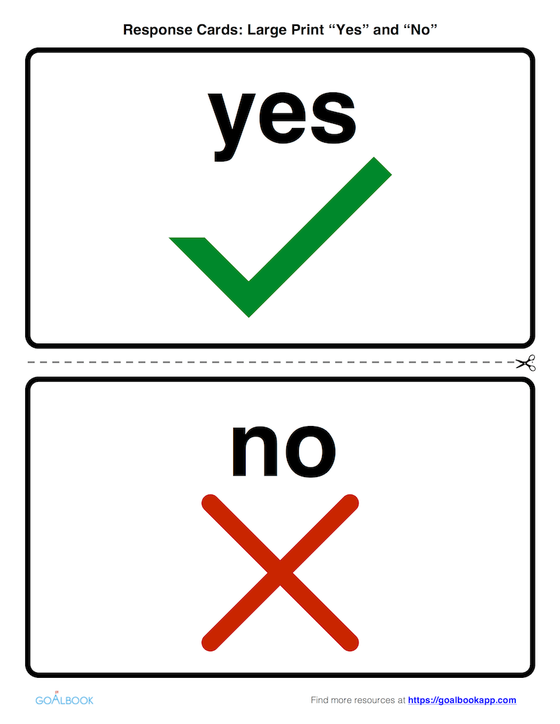 Large Print Response Cards: Yes and No