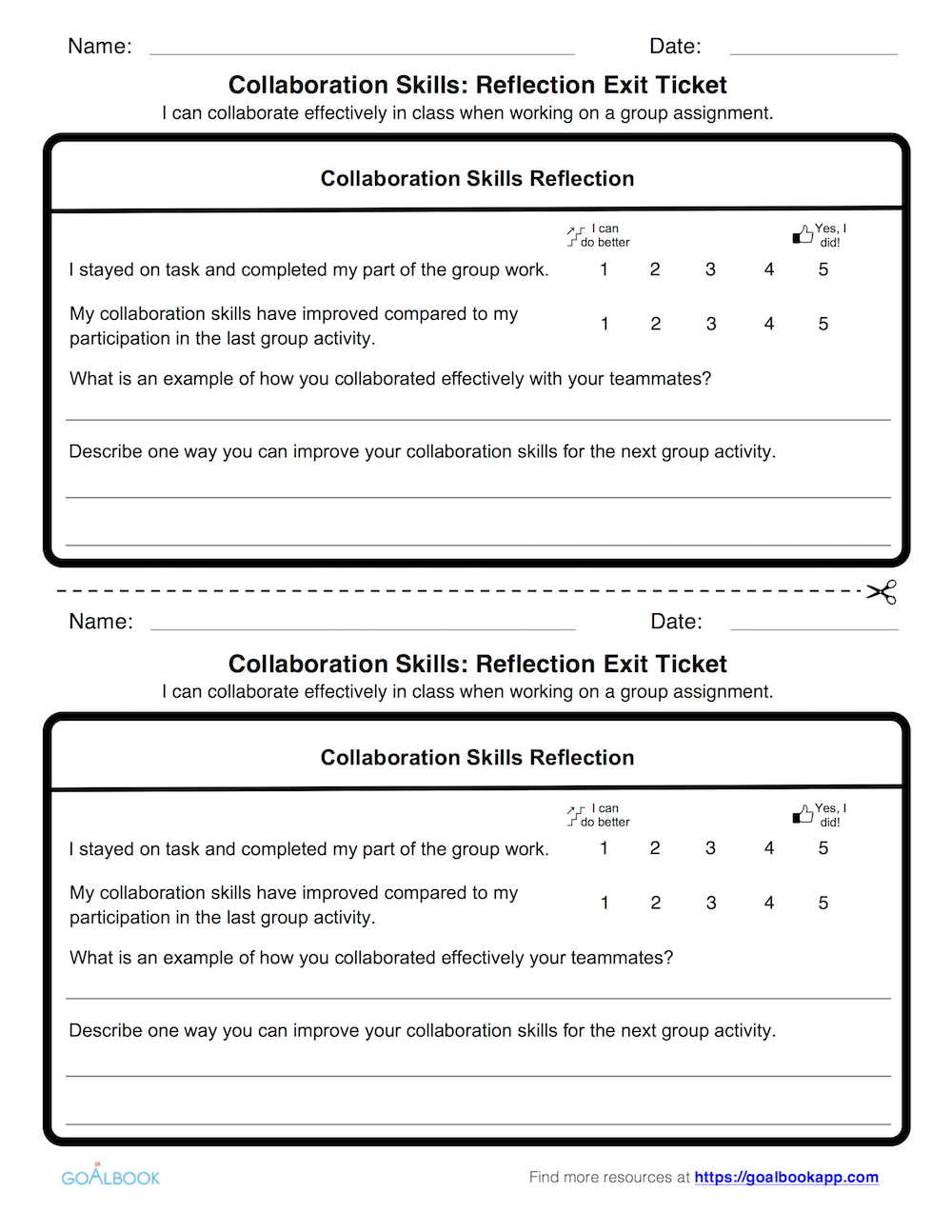 Collaboration Skills: Reflection Exit Ticket