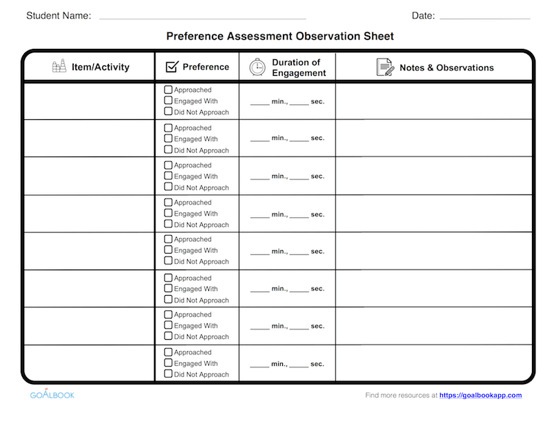 Preference Assessment Observation Sheet