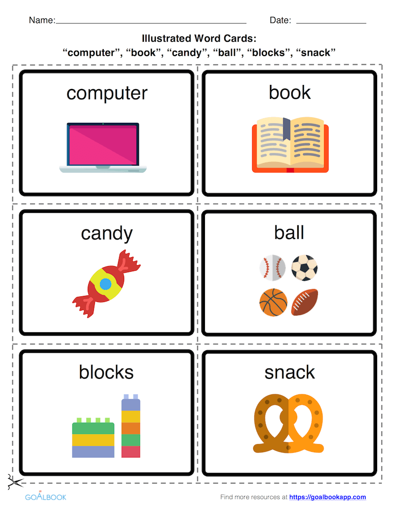 Illustrated Word Cards: Preferred Items