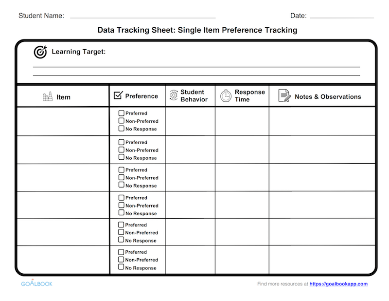 Data Tracking Sheet: Single Item Preference Tracking