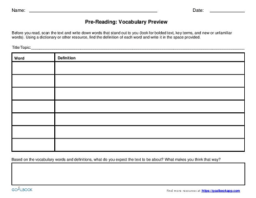 Pre-Reading Graphic Organizers (9-12)