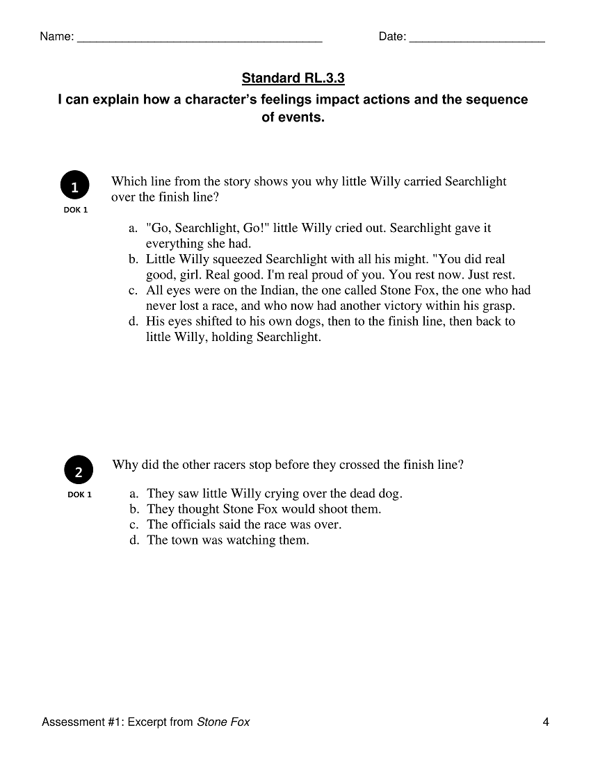 worksheet Stone Fox Worksheets rl 3 characters and their actions reading literature 3rd full resource contains