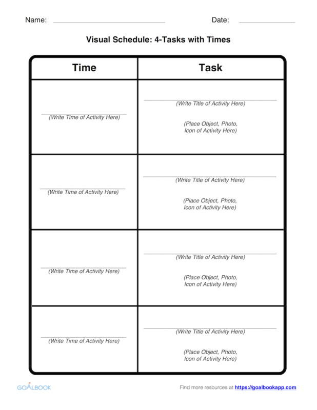 Visual Schedule Template: 4-Tasks with Times