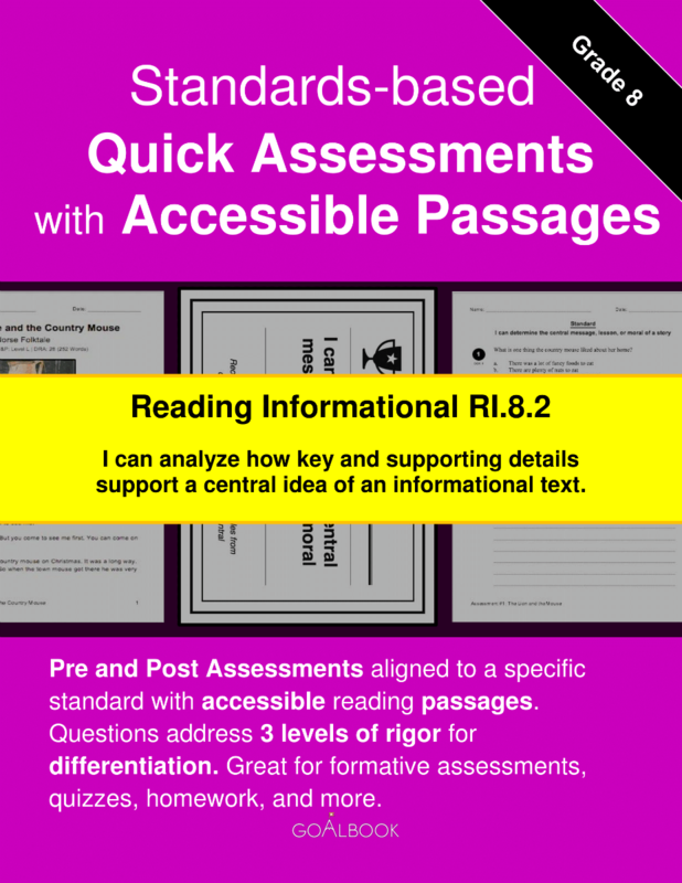 Reading Quick Assessment with Accessible Passages: RI.8.2