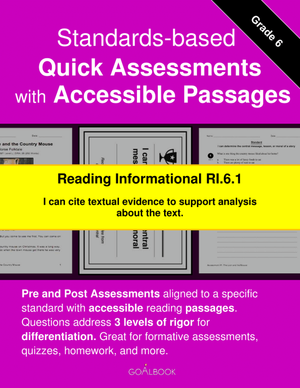 Reading Quick Assessment with Accessible Passages: RI.6.1